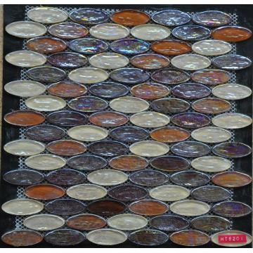 Oval Bumpy Colorful Glass Mosaic