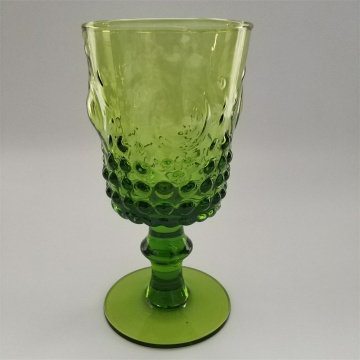 Mouth blown solid green color wine glass