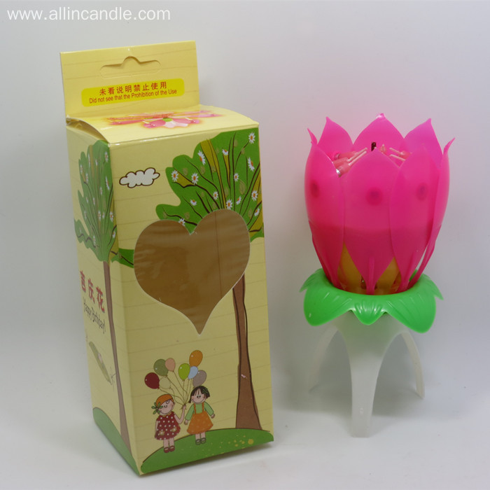 lotus rotating birthday candle with music