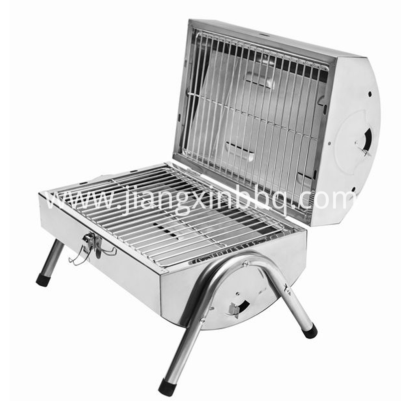 Stainless Steel Brother Charcoal Grill Opening View