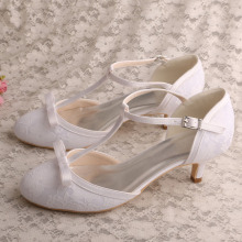 Lace White 2 Inch Heels Bridal Shoes