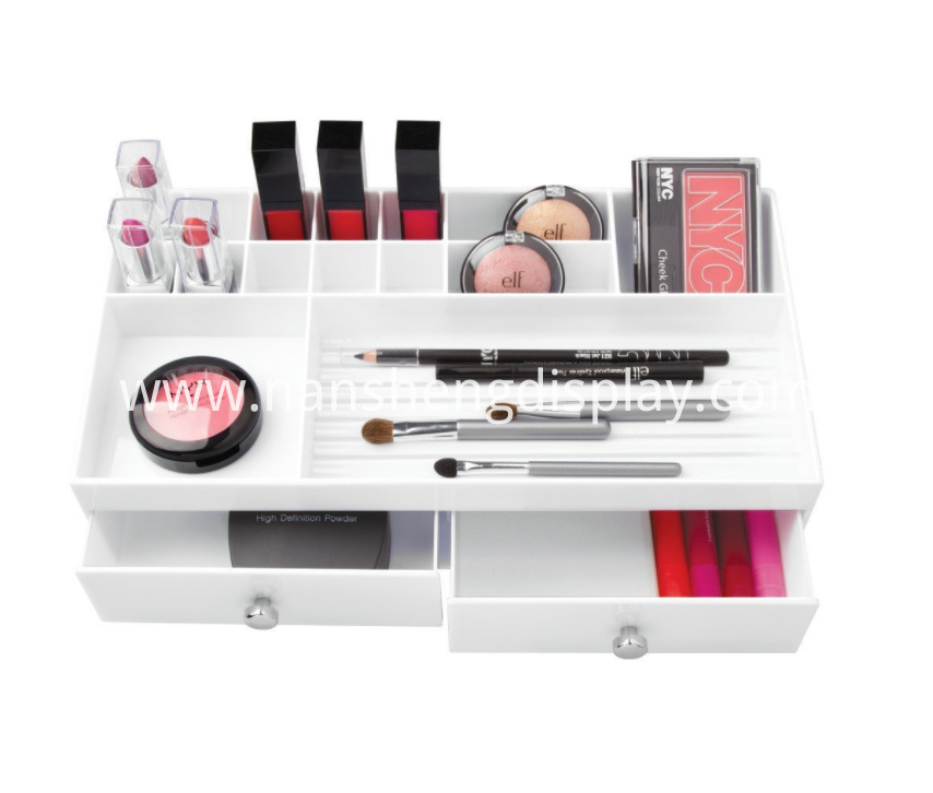 White Counter Top Cosmetic Organizer