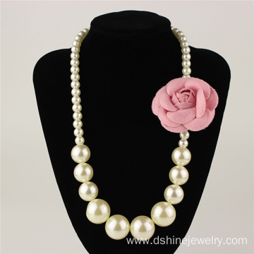 White Simple Flower Imitation Pearl Necklace For Children