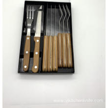 8pcs bamboo handle steak knife and fork set