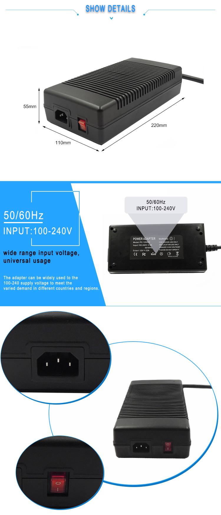 36V switching power supply adapter