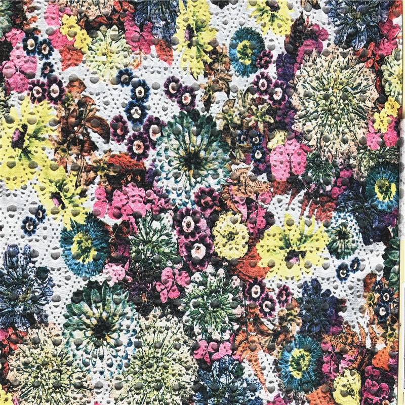 Floral Design Knitted Polyester Jacquard Fabric