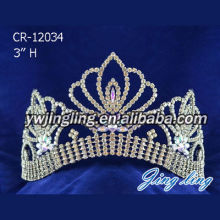 3 Inch Gold Wedding Tiaras Pageant Crowns