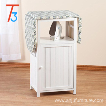 wooden folding ironing board cabinet with cloth storage shelf and door
