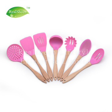 7 Pieces Natural Wooden Handle Cooking Tools