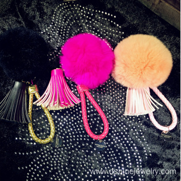 Leather Tassel Pendant Rabbit Pom Pom Ball Keyring For Woman