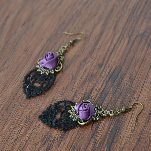 Gothic Rose Drop Lace Earrings