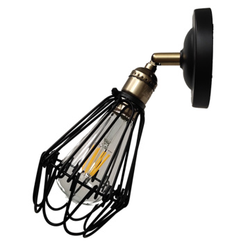 Iron black mini wall lamp for indoor lighting