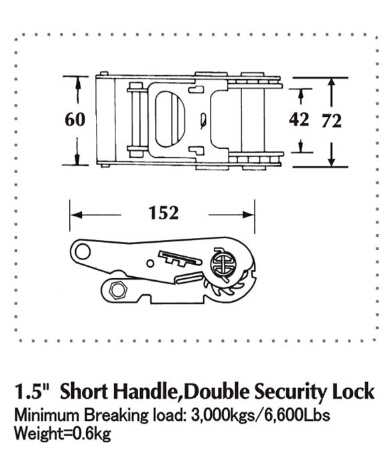 1.5 Inch Short Aluminum Handle & Double Security Lock Ratchet Buckle