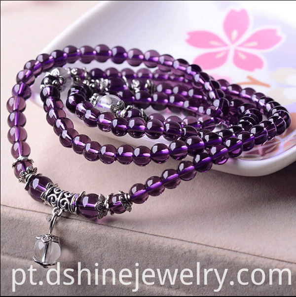 Multilayers Amethyst Crystal Bracelet