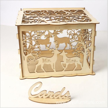 Wooden Gift Rustic Hollow Wedding favor Box with Lock
