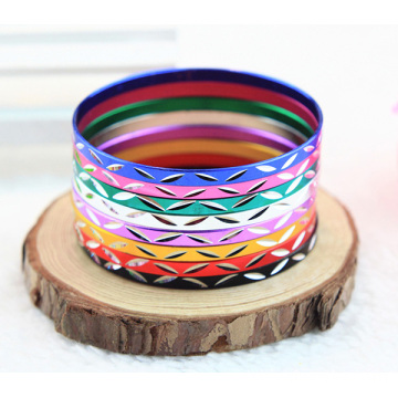 Shiny Leaves Engraved Aluminum Bracelet With Multi Colors