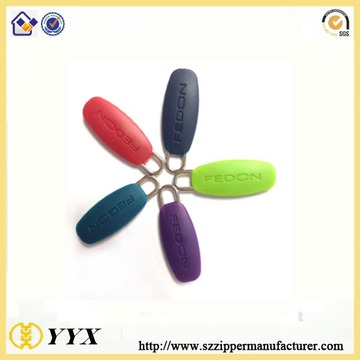 colorful rubber silicone zipper puller for bags