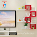 household handmade colorful hanging wooden wall shelf decorative