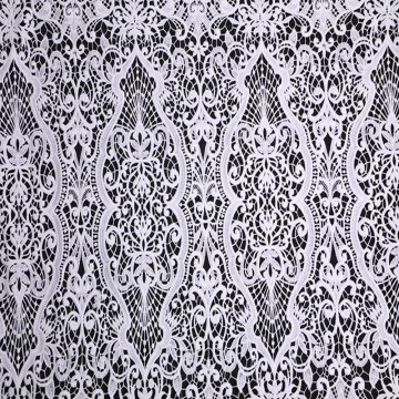 Off White Milky Yarn Chemical Lace Embroidery Fabric