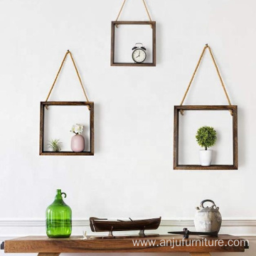 Wall Mount Shelf Cube Display Wooden Wall Shelf