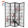 japanese style 4 panel plum creek room divider black