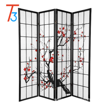 Factory Price for Folding Room Dividers japanese style 4 panel plum creek room divider black export to United Kingdom Wholesale