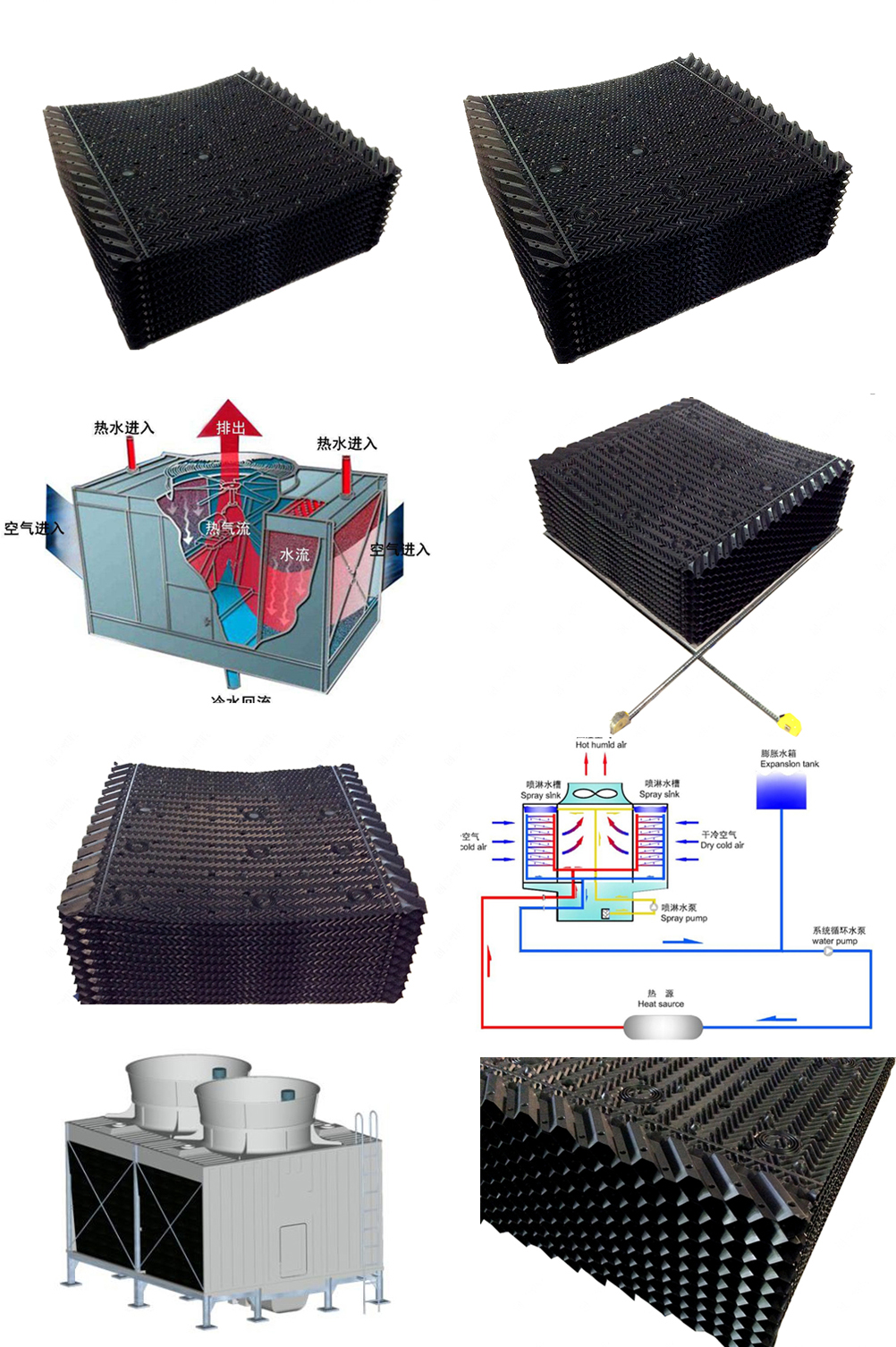 Square Type Cross Flow Cooling Tower Filler