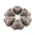 Putaran 6 Piala Silicone Heart Mould Pan