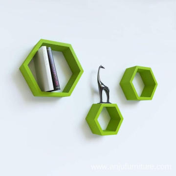 Wall Shelf Rack Set of 3 Hexagon Shape Storage Wall Shelves for Home - Green
