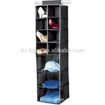 7 SHELF 11 SECTION HANGING WARDROBE SHOE GARMENT ORGANISER STORAGE CLOTHES TIDY