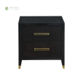 Black Wood Square Night Stands with 2 Drawers