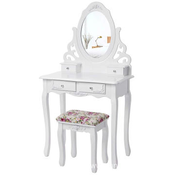 Floral Dressing Table set 4 drawers Makeup Table Bedroom Furniture Dresser Makeup Dresser with Mirror