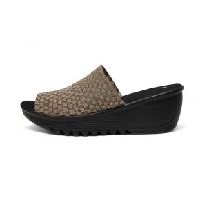 Hand Woven Fabric Basket Weave Elastic Slippers
