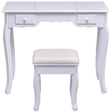 Modern writing desk Foldable White dresser with mirror