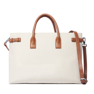 Women Nylon Canvas Laptop Tote Bag Leather Handles