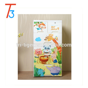 cartoon design Plastic Closet cabinet wardrobe for Kids Eco-friendly PP