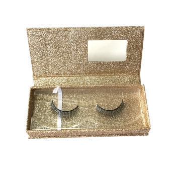 Custom Gold Glitter Lashes Packaging Box with Window