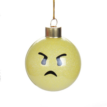 Customized Christmas Glass Ball Ornaments Emoji Cute Design
