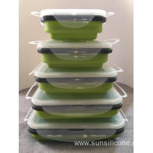 Crisper food grade silicone bento lunch box container