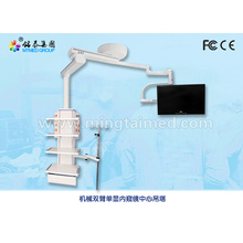 Mechanical double arm single monitor medical pendant