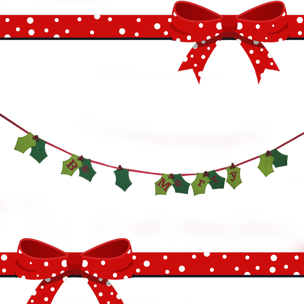Leaf pattern christmas banner flag