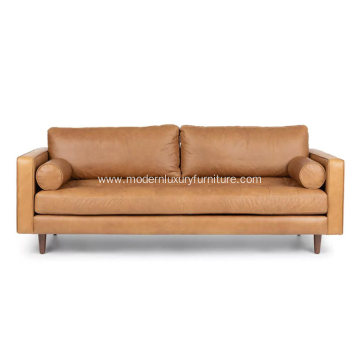 Mid-Century Modern Sven Charme Tan Leather Sofa