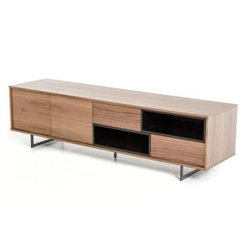 Goods high definition for for White High Gloss TV Unit Modern Walnut wood veneer TV Stand export to Germany Supplier