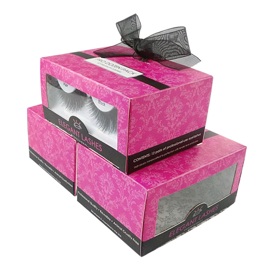 Pink Folding Eyelashes Cosmetic Box with Window