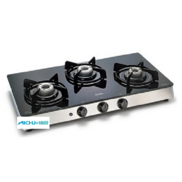 3 Burners Black Glass Gas Stove Auto Ignition