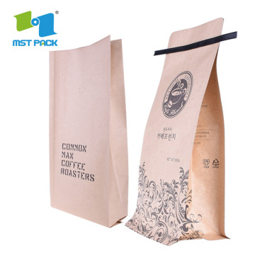 100% Biodegradable Ziplock Square bottom Heat Seal Coffee Bag