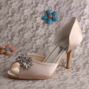 High reputation for for Satin Bridal Shoes New Design Open Toe Satin Bridal Footwear Online supply to Germany Wholesale