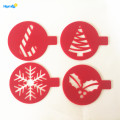 4pcs Plastic Christmas Cappuccino Coffee Art Stencil Set