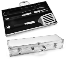 Customized for BBQ Set 3PCS BBQ Tools Set With Aluminum Case supply to Spain Factory