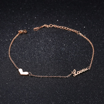 Personalized girls heart name ankle bracelet